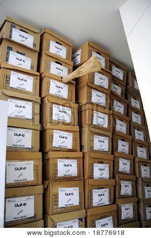 CIUDAD JUAREZ - FEB 28: Piles of boxes, each on one unresolved homicide, cover the walls of forensic lab in Ciudad Juarez, Mexico, on February 28, 2009.