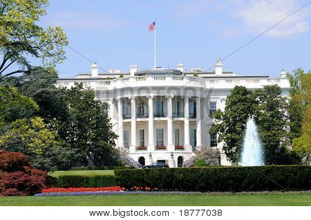South facade and South lawn of the White House in Washington DC in spring colors