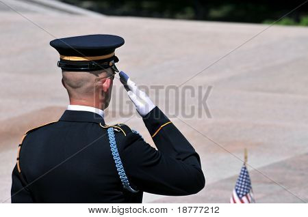 Soldier salute closeup