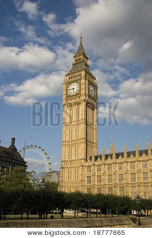 Big Ben with the London eye in the background.