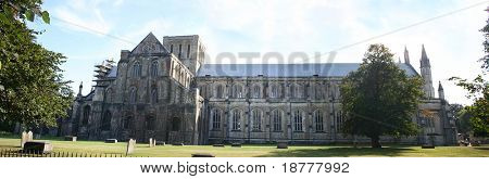 Panorama of Winchester Cathedral, Hampshire, UK