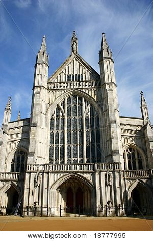 Front facade of Winchester Cathedral, Hampshire, UK