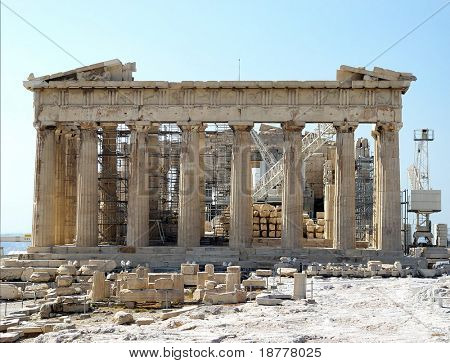 Front facade of the Parthenon, Acropolis, Athens showing ongoing restoration work