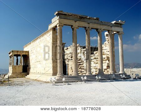 The Erecthion, the most sacred site of the Acropolis, Athens, Greece.
