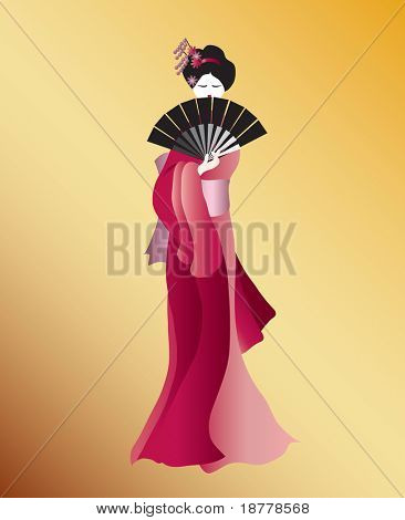 A vector illustration of a Geisha dressed in shades of pink