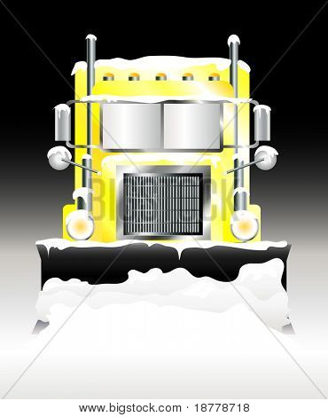 An illustration of a snow plough clearing heavy snowfall at night