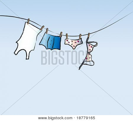 An illustration of his and hers underwear drying on a washing line. Space for text