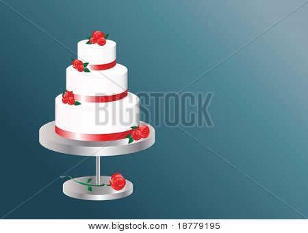 A vector illustration of a  three tier wedding cake with space for text