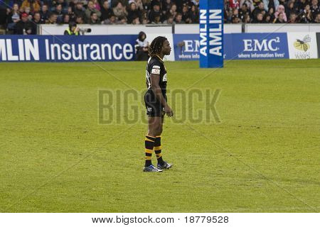LONDON - MAY 1: Paul Sackey plays for home team London Wasps in the semi finals of the Amlin Challenge Cup against Cardiff Blues. Sackey has numerous England Caps