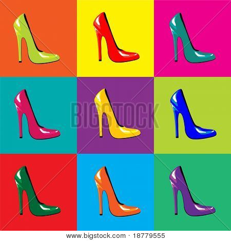 An illustration of bright, high-heel shoes on colorful tiled background. Pop-art style. Seamless. Also available as a vector in my portfolio