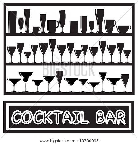 Uma ilustração vetorial para um cocktail bar cartaz com silhuetas de vidro, em preto e branco