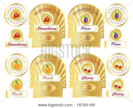 A set of gold jam labels for homemade jams and preserves. EPS10 vector.