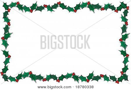 An illustration of holly leaves creating a frame. Isolated on white with space for text. Also available in vector format in my portfolio