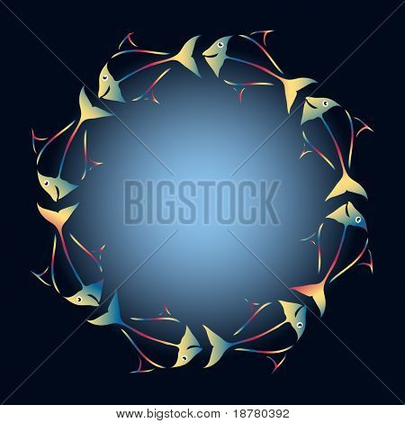 Fish, in rainbow colours,  swimming in a circle to create a frame. Also available in vector format