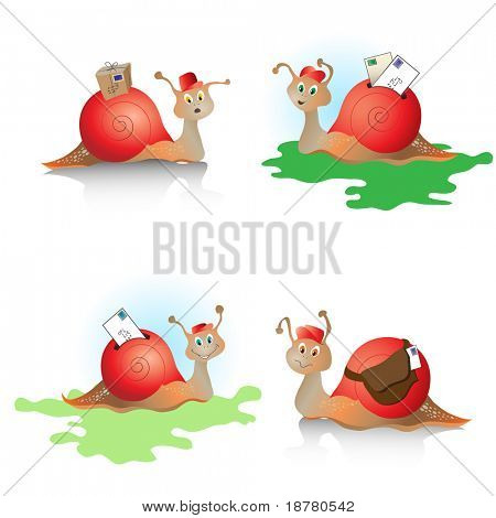 Cartoons snails with mail. Concept depicting 'snail mail'. Also available in vector format.