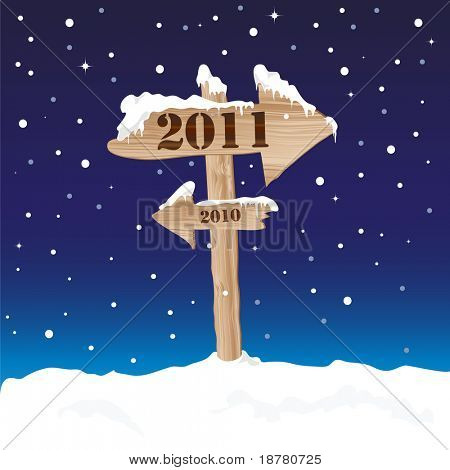 A wooden sign showing the way to 2011 from 2010. New Year's eve concept. EPS10 vector format.