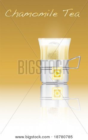 A glass of hot chamomile tea. EPS10 vector format. Fully editable with space for your text