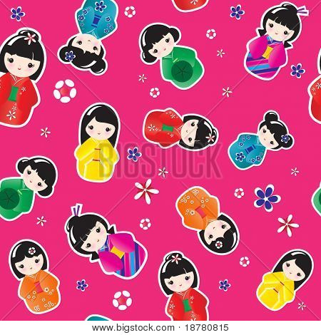 A seamless background of Kokeshi dolls. EPS10 vector format.