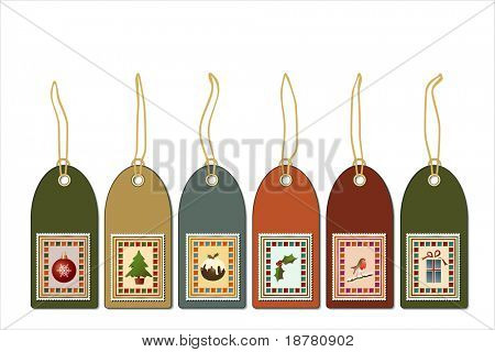 Christmas gift tags with postage stamp icons. Vintage style EPS10 vector format.