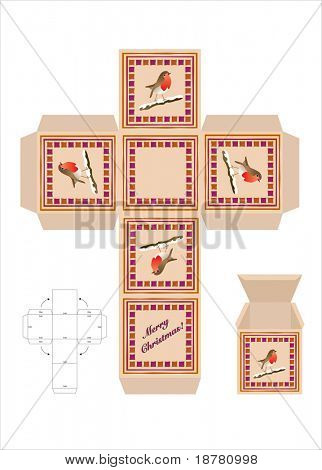 A Christmas gift box cut-out template with assembly instructions. Also available in vector format.