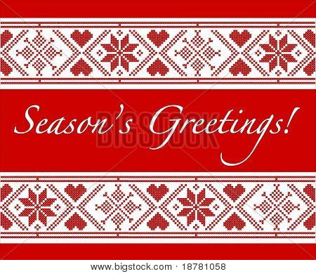"""Season's Greetings"" Christmas card with Scandinavian style cross-stitch. Also available in vector format."