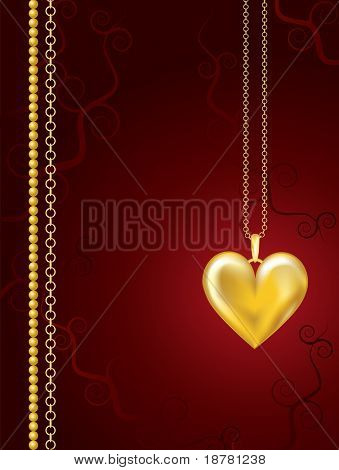 Gold heart locket on red floral background with space for text. Also available in vector format.