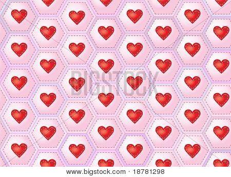 A seamless background of hearts sewn onto patchwork hexagons. Also available in vector format.