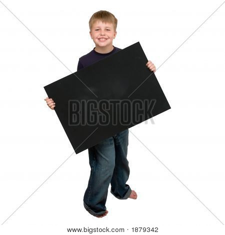 Child Holding An Empty Sign