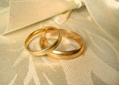 stock photo of soulmate  - set of gold wedding rings - JPG