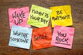 wake up, be awesome, inspire someone, smile, you rock - set of inspirational sticky notes against ru poster