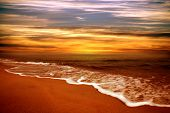 foto of sunset beach  - Sunset on the beach - JPG