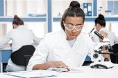 African American Scientist In Lab Coat With Microscope And Digital Tablet Working In Chemical Lab, S poster