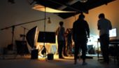 Blurred Of Production Team Shooting Some Video Movie. poster