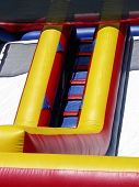 image of inflatable slide  - Climbing ladder on inflatable slide for children - JPG