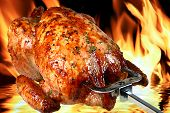 picture of roast chicken  - image of delicious roasted chicken on flame background - JPG