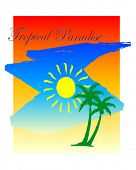 illustration of a tropical destination background poster