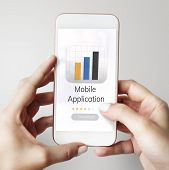 Illustration of mobile application graph download on mobile phone poster