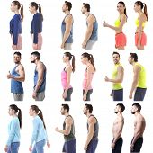 Rehabilitation concept. Collage of people with poor and good posture on white background poster