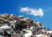 stock photo of junk-yard  - Pile of metallic waste on a recycling area - JPG