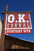 TOMBSTONE, AZ - FEB 26: Sign indicating the site of the famous OK Corral gunfight in the town of Tom