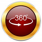 Panorama 360 red web icon with golden border isolated on white background. Round glossy button. poster