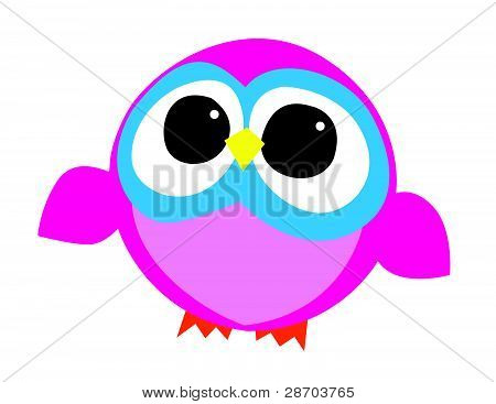 Pink and Blue Owl Illustration
