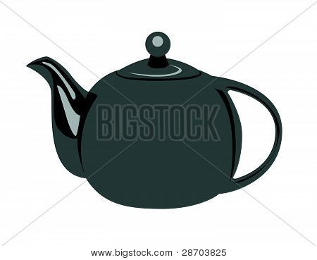 Grey Teapot Illustration