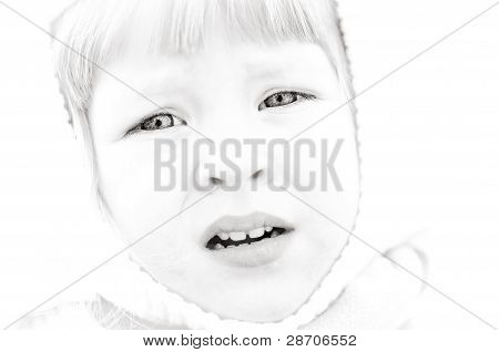 Portrait of the child with a sad sight