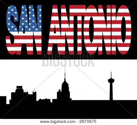 San Antonio Skyline With Flag