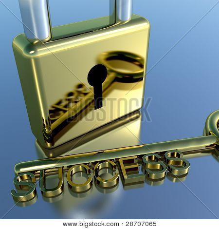 Padlock With Success Key Showing Strategy Planning And Solutions