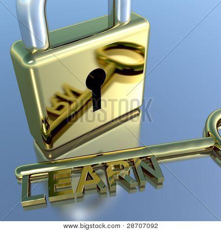 Candado con aprender clave cursos y aprendizaje de la educación