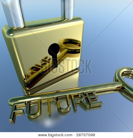 Padlock With Future Key Showing Wishes Hope And Dreams
