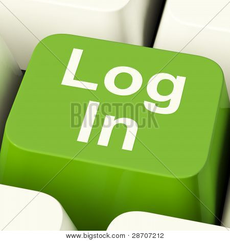 Log In Computer Key Green Showing Access And Entering