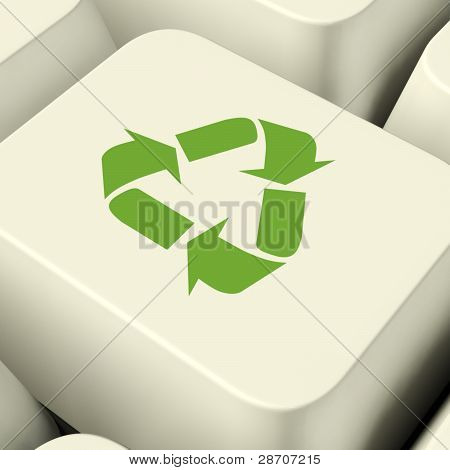 Recycle Icon Computer Key In Green Showing Recycling And Eco Fri